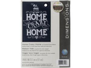 "Home Crazy Home Mini Counted Cross Stitch Kit-5""""X7"""" 14 Count"