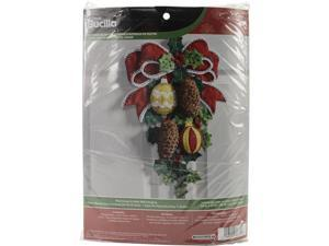 """Pinecones & Holly Wall Hanging Felt Applique Kit-13""""""""X17"""""""""""