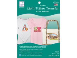 "Light T-Shirt Iron-On Ink Jet Transfer Sheets 8.5""""X11"""" 6/Pkg-"
