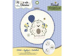 "Hedgehog Hoop-sie Daisies Embroidery Kit-8.5"""" Round"