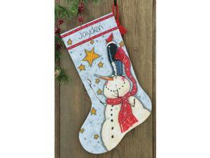 "Tall Hat Snowman Stocking Counted Cross Stitch Kit-16"""" Long 14 Count"