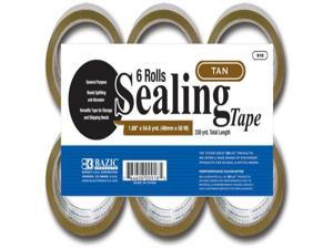 "BAZIC 1.88"""" X 54.6 Yards Tan Packing Tape (6/pack) Case Pack 6"