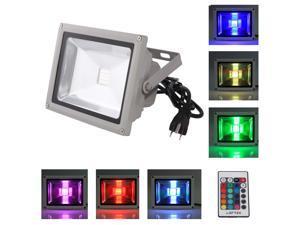 LOFTEK® 20W RGB LED FloodLight with Plug & Remote Control AC85V-265V, with 1 meter power plug, 920WFL (16 different color tones)