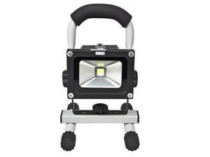 Loftek 10 Watts Ultra-Compact Portable Handle Waterproof Outdoor LED Work Light Rechargeable 4400mAh FloodLight with car charger and wall charger. Replaceable battery USB output 5V/1A (Grey)