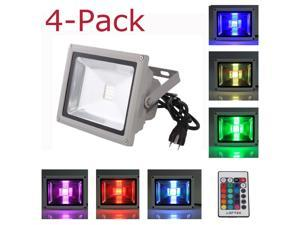 4-Pack 30W Waterproof Outdoor Security LED Flood Light Spotlight High Powered RGB Color Change with Plug and Remote Control ...