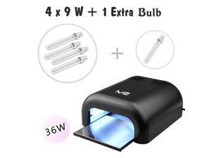 MelodySusie® High Quality Portable 36W UV Lamp Light Acrylic Nail Dryer for CND Shellac, Soak Off, Harmony Gelish, IBD etc., with Sliding Tray & 2 Timmer Setting + 4x9W UV Lamp + Free Extra One Bulb
