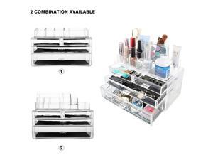 MelodySusie® Large Capacity Cosmetic Organizer Transparent Acrylic Jewelries & Cosmetic Storage Display Boxes Makeup Organizer
