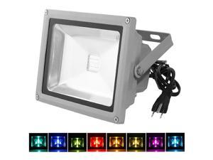 LOFTEK® 50W RGB LED FloodLight with Plug & Remote Control AC85V-265V, with 1 meter power plug, 920WFL (16 different color tones)