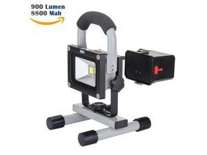 LOFTEK 10W LED Work Light,Rechargeable&Portable, 900lm, 8800mAh Detachable Battery,adapter and Car Charger Included, Waterproof, Outdoor Floodlight, 35-2014-012