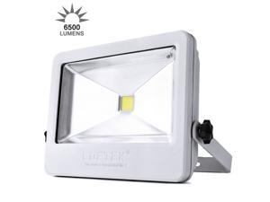 LOFTEK 50W Daylight White Floodlight,Super Bright Outdoor LED Flood Lights, 6500 LM High Powered Waterproof Security Spotlight with Timing Function, White Light