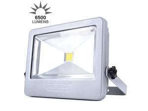LOFTEK 50W Daylight White Floodlight,Super Bright Outdoor LED Flood Lights, 6500 LM,High Powered Waterproof Security Spotlight with Timing Function-Silver