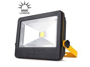 LOFTEK 50W Daylight White Floodlight,Super Bright Outdoor LED Flood Lights, 6500 LM, High Powered Waterproof Security Spotlight with Timing Function-White Light-Black