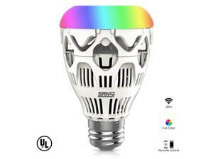 Sansi Smart RGB LED Light Bulb, Wi-Fi, A19, Dimmable,Ceramic Heat Dissipation, Group Control and Music Control, Works with ...