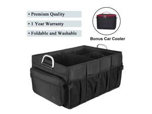 MIU COLOR Foldable Cargo Trunk Organizer - High Quality Big Capacity Washable Storage with Metal Handles - Bonus Car Cooler - Black