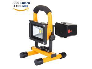 Loftek 10 Watts Ultra-Compact Portable Handle Waterproof Outdoor LED Work Light Rechargeable 4400mAh FloodLight with car charger and wall charger. Replaceable battery USB output 5V/1A (Yellow)
