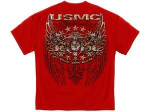 Marine Corps, USMC T-Shirt Usmc Pride Duty Honor Stars Silver Foil Medium Red