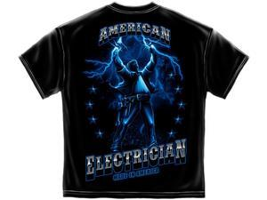American Electrician T-shirt Flaming Electricity-small