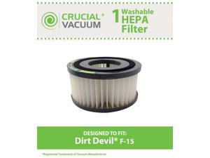 Dirt Devil F15 Washable HEPA Filter for ALL Dirt Devil Quick Vac Models&#59; Compare to part #1-SS0150-000, 3-SS0150-001 (3SS0150001)&#59; Designed & Engineered By Crucial Vacuum