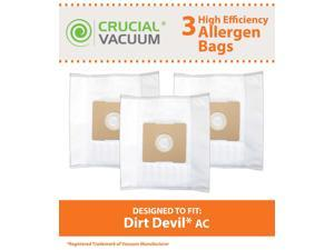 3 Dirt Devil AC Bags&#59; Fits Dirt Devil Turbo Canister Vacuums&#59; Compare to Part # 304325001&#59; Designed & Engineered by Crucial Vacuum