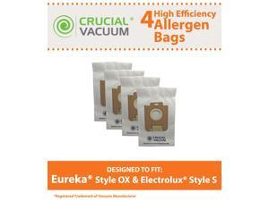 4 Eureka Style OX & Electrolux Style S Allergen Paper Vacuum Bags&#59; Compared to Part # 61230&#59; Designed & Engineered by Crucial Vacuum