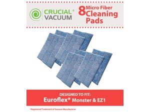 8 Euroflex Replacement Micro Fiber Cleaner Pads Designed To Fit Euroflex Monster EZ1 Steam Mop &#59; Designed & Engineered by Crucial Vacuum