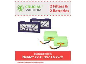 2 Neato Batteries & 2 XV Pet & Allergy Filters&#59; Fits XV-11, XV-12 & XV-15 Robotic Floor Vacuums&#59; Designed & Engineereed by Crucial Vacuum