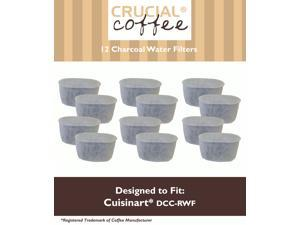 12 Cuisinart DCC-RWF Charcoal Water Filters&#59; Fits All Cuisinart Coffee Makers With Charcoal Water Filtration System&#59; Designed & Engineered by Crucial Coffee