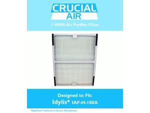 Idylis HEPA Air Purifier Filter&#59; Fits Idylis Air Purifiers IAP-10-100, IAP-10-150&#59; Model # IAF-H-100A&#59; Designed & Engineered by Crucial Air