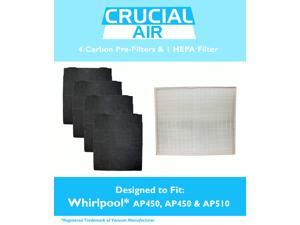 Crucial Air HEPA Air Purifier Filter & 4 Odor Neutralizing Carbon Pre Filters&#59; Fits Whirlpool Whispure Air Purifier Models AP350, AP450, AP510 & AP51030K&#59; Compare to Filter Part # 8171434K, 1183054