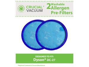 2 Dyson DC27 Washable & Reusable Replacement Pre-Filters, Designed To Fit Dyson DC27 (DC-27) DC28 (DC-28) Upright Vacuums&#59; Compare To Dyson Part # 919780-01 &#59; Designed & Engineered by Crucial Vacuum