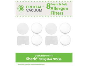 8 Shark Navigator NV22L Foam and Felt Replacement Vacuum Filter Kit Designed To Fit Shark Navigator NV22L&#59; Replaces Shark Vacuum Part # XF22&#59; Designed & Engineered By Crucial Vacuum