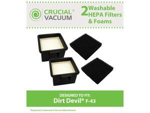 2 Dirt Devil F43 HEPA Filters and Foam Filters, Part # 2PY1105000 (2-PY1105-000) & 1PY1106000, Designed & Engineered by Crucial Vacuum