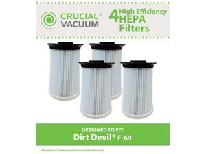 4 Dirt Devil F69 F-69 HEPA Filters, Part # 440002214, Fits Dirt Devil Clean Vision Bagless Upright Vacuum Model UD40335, Designed & Engineered by Crucial Vacuum