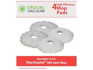 4 Hurricane Mop Pads Fit Hurricane PRO 360 Rotating Spin Magic, Designed & Engineered by Crucial Vacuum