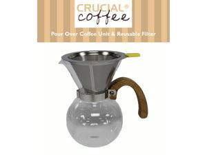 Personal Pour Over Drip Coffee Glass Coffee Maker Comes With Washable & Reusable Stainless Steel Filter, Makes 1-3 Cups&#59; Designed & Engineered by Crucial Coffee