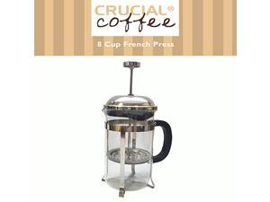 8 Cup French Press Coffee & Espresso Maker Brews 1L / 34OZ (8 coffee cups or about 4 coffee mugs), Designed & Engineered by Crucial Coffee