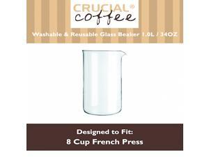 8 Cup (34 OZ) Universal Washable & Reusable Replacement French Press Glass Beaker Fits Bodum & All 8 Cup French Presses, Designed & Engineered by Crucial Coffee