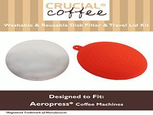 Stainless Steel Washable Crucial Coffee Filter & Travel Cap Kit Fits Aerobie AeroPress, Designed & Engineered by Crucial Coffee