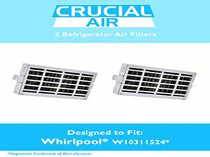 2-pack Refrigerator Air Filters fits Whirlpool Air1 Fresh Flow Compare to Part # W10311524, 2319308 & W10335147, Designed & Engineered by Crucial Air