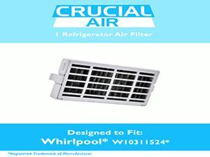 Refrigerator Air Filters fits Whirlpool Air1 Fresh Flow Compare to Part # W10311524, 2319308 & W10335147, Designed & Engineered by Crucial Air