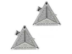 Sterling Silver Handset White CZ Micropave High Quality Triangular Cufflinks