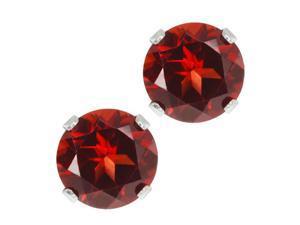 2.00 Ct Round Genuine Red Garnet Sterling Silver Stud Earrings, 6MM