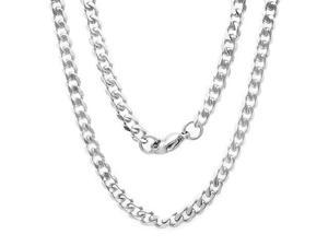 """24 Inch Stainless Steel Cuban Chain Necklace with Lobster Clasp (1/5"""" Wide)"""