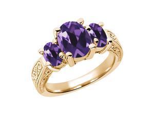 2.56 Ct Oval Purple VS Amethyst 14K Yellow Gold 3-Stone Ring