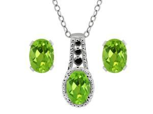 2.46 Ct Oval Natural Peridot Black Diamond 925 Silver Pendant  #38; Earrings Set