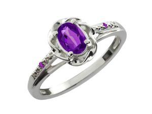 0.36 Ct Oval Purple Amethyst 925 Sterling Silver Ring