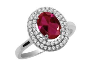 2.62 Ct Oval Red Created Ruby 925 Sterling Silver Ring