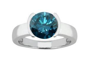 1.35 Ct Round Blue SI1/SI2 Diamond 14K White Gold Ring