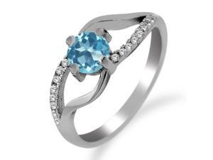 0.82 Ct Round Swiss Blue Topaz 925 Sterling Silver Ring