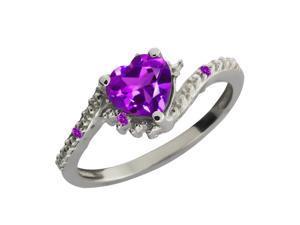 0.76 Ct Genuine Heart Shape Purple Amethyst Gemstone Sterling Silver Ring
